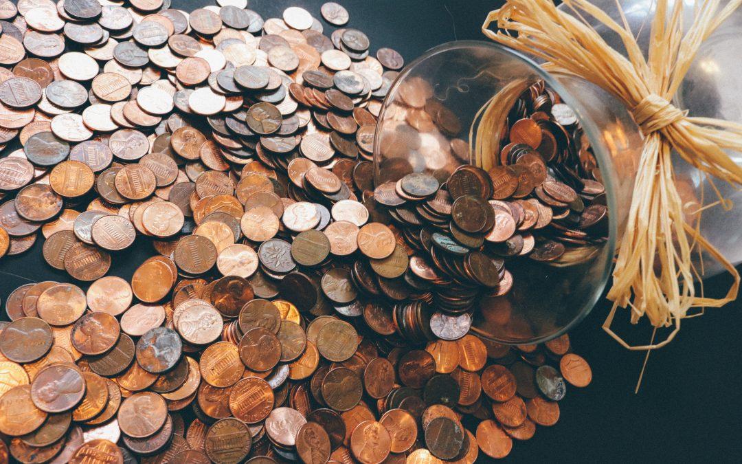 pennies spilled out a jar